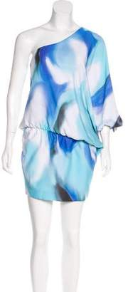 Halston One-Shoulder Printed Dress