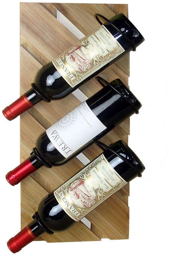 New view rustic 3-bottle wall-mount wine rack