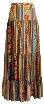 Etro Midburn Tiered Silk Crepe Maxi Skirt - Womens - Pink Multi