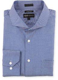 Trim-Fit Regular-Finish Royal Blue Diamond Dress Shirt