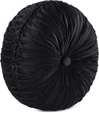 J Queen New York Bradshaw Black Tufted Round Decorative Pillow Bedding