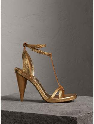 Burberry Riveted Metallic Leather High Cone-heel Sandals