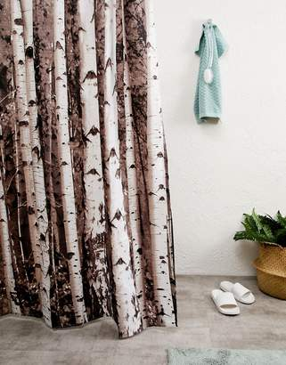 Kikkerland Birch Print Shower Curtain