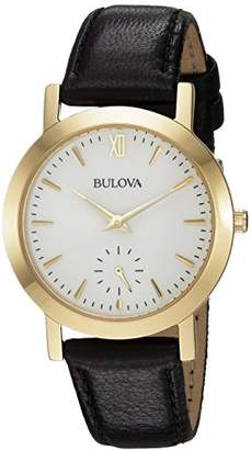 Bulova Women's Quartz Stainless Steel and Leather Casual Watch, Color:Black (Model: 97L159) $119.39 thestylecure.com