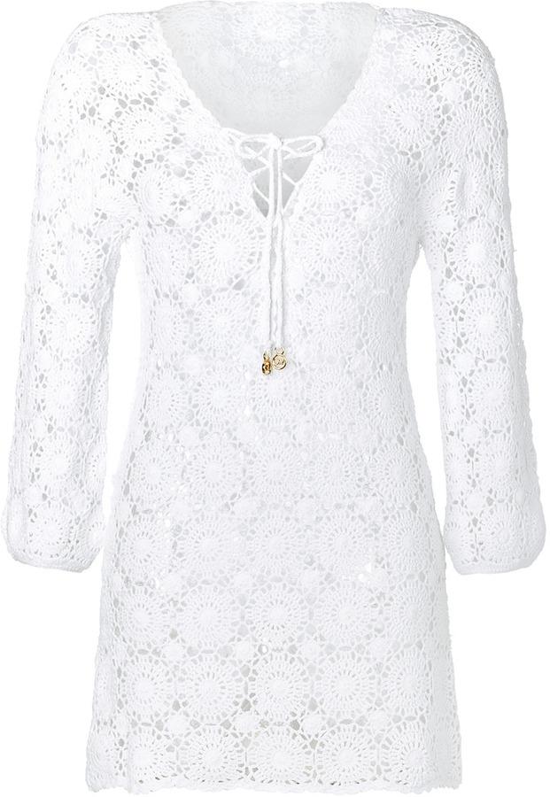 Melissa Odabash Cotton Crochet Mini-Dress