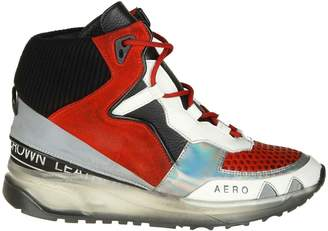 Leather Crown aero Sneakers In Red Leather With Black And White Details