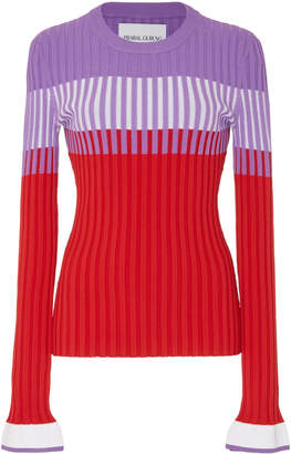 Prabal Gurung Color-Blocked Ribbed Knit Top