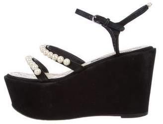 Chanel Pearl Embellished CC Platform Sandals