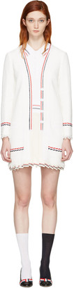 Thom Browne White Selvedge Tweed Trompe L'Oeil Polo Dress $3,400 thestylecure.com