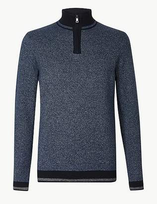 Marks and Spencer Pure Cotton Textured Zip Neck Jumper