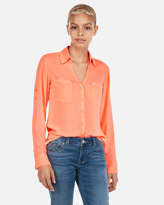Express Slim Fit Neon Portofino Shirt