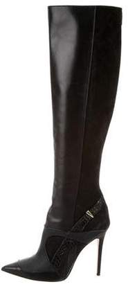 Prabal Gurung Leather Python-Trimmed Boots
