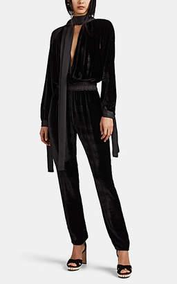 Juan Carlos Obando Women's Satin-Trimmed Velvet Jumpsuit - Black