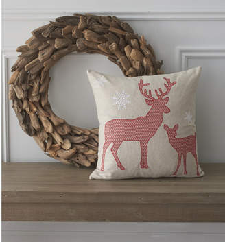 County Road Holiday Whimsical Reindeer Cotton Throw Pillow