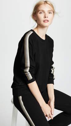 Monrow Supersoft Raglan Sweatshirt with Neutral Stripes