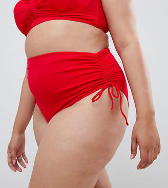 Zizzi highwaisted bikini bottom with side ruched detail