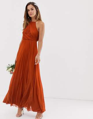 Asos Design DESIGN Bridesmaid pinny maxi dress with ruched bodice