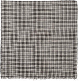 Isabel Marant Ecru and Grey Check Woody Scarf