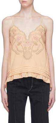 Chloé Blossom embroidered ruffle hem camisole top