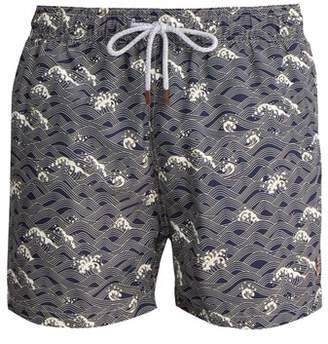 Retromarine - Small Wave Print Swim Shorts - Mens - Navy