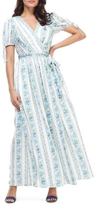 Gal Meets Glam Imogene Floral Stripe Wrap Maxi Dress