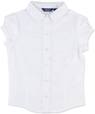 Chaps Girls 4-16 School Uniform Ruffled Keyhole Shirt