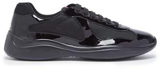 Prada America's Cup Patent Leather And Mesh Trainers - Mens - Black