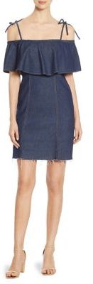 7 For All Mankind Ruffled Cold-Shoulder Denim Dress $229 thestylecure.com