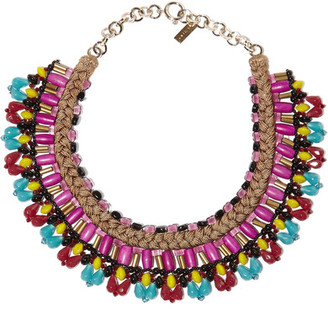 Etro - Gold-tone, Bead And Wood Necklace - Purple $475 thestylecure.com