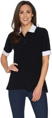 Susan Graver Textured Liquid Knit Polo Shirt
