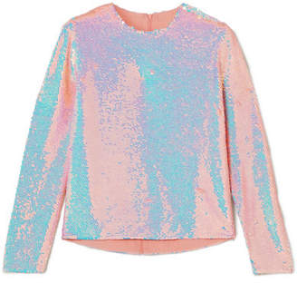 Ashish Sequined Silk-georgette Top - Blush