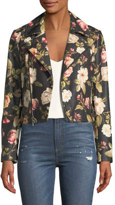 Alice + Olivia Cody Crop Floral-Print Leather Moto Jacket