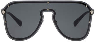 Versace Black Pilot Shield Hybrid Sunglasses