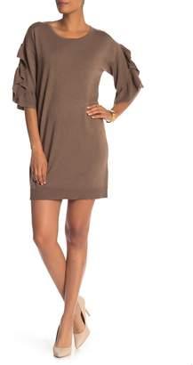 Max Studio Ruffled 3/4 Sleeve Sweater Dress