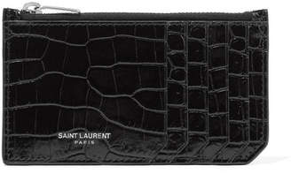 Saint Laurent Croc-effect Patent-leather Cardholder - Black