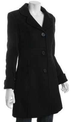 Marc New York black wool-cashmere button front coat
