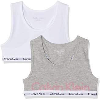 a31010a8a8a91 Calvin Klein Girl s Modern Cotton (lg) 2 Pack Bralette Print Lingerie Set