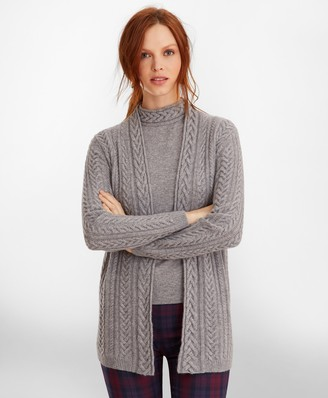 Brooks Brothers Cable-Knit Cashmere Duster Cardigan
