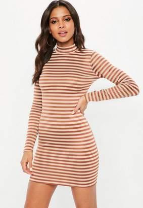 Missguided Nude Stripe Long Sleeve Bodycon Dress