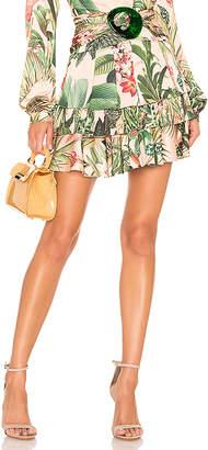PatBO Paradise Print Ruffle Mini Skirt