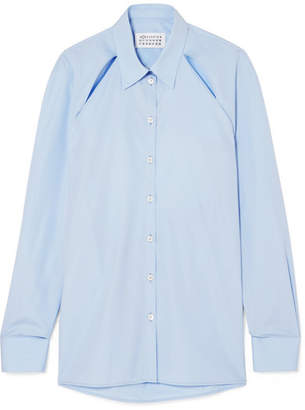 Maison Margiela Cutout Cotton-poplin Shirt - Blue