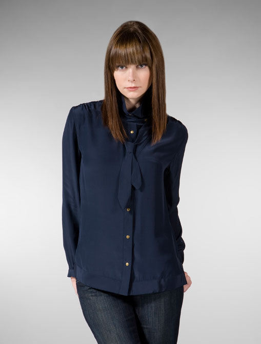 Mike & Chris Flint Silk Charmeuse Blouse with Skinny Neck Tie