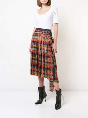 ADAM by Adam Lippes Printed Satin Chiffon Wrap Skirt With Pleats And Denim Panel