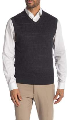 Perry Ellis Patterned Rib V-Neck Vest