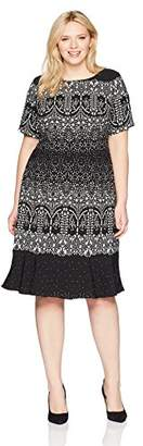 Adrianna Papell Women's Size Plus Lace Majesty Drp WST Fit N FLR