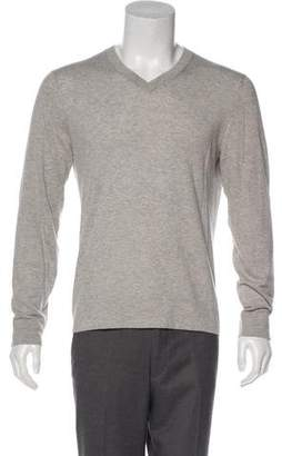Theory Cashmere-Blend Woven V-Neck Sweater