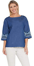 Bob Mackie Bob Mackie's Drop Shoulder Blouse with SleeveEmbroidery