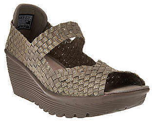 Skechers Woven Open-toe Wedges w/ Memory Foam - Parallel $41.46 thestylecure.com