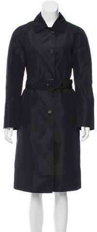 pradaPrada Silk-Blend Belted Coat