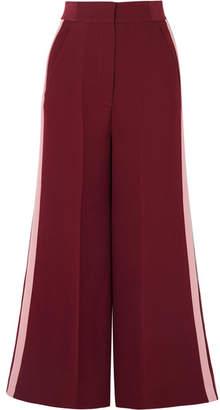 Roksanda Hasani Cropped Striped Cady Wide-leg Pants - Burgundy